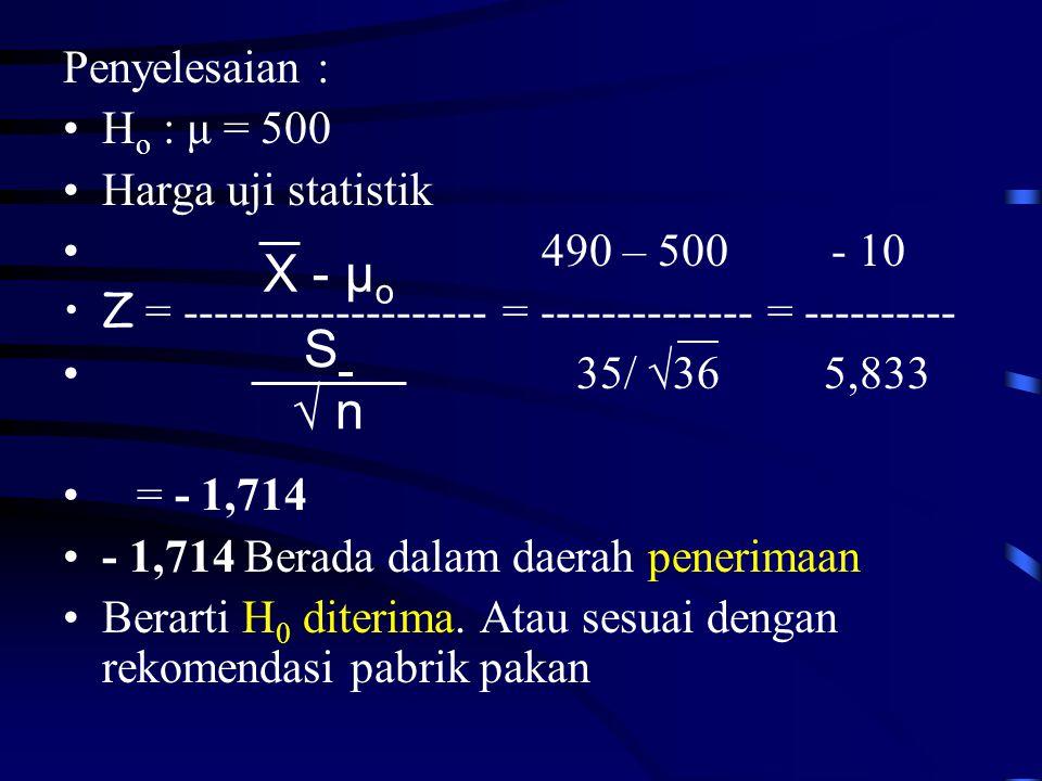 Penyelesaian : •H o : μ = 500 •Harga uji statistik • 490 – 500 - 10 •Z = -------------------- = -------------- = ---------- • 35/ √36 5,833 • = - 1,714 •- 1,714 Berada dalam daerah penerimaan •Berarti H 0 diterima.