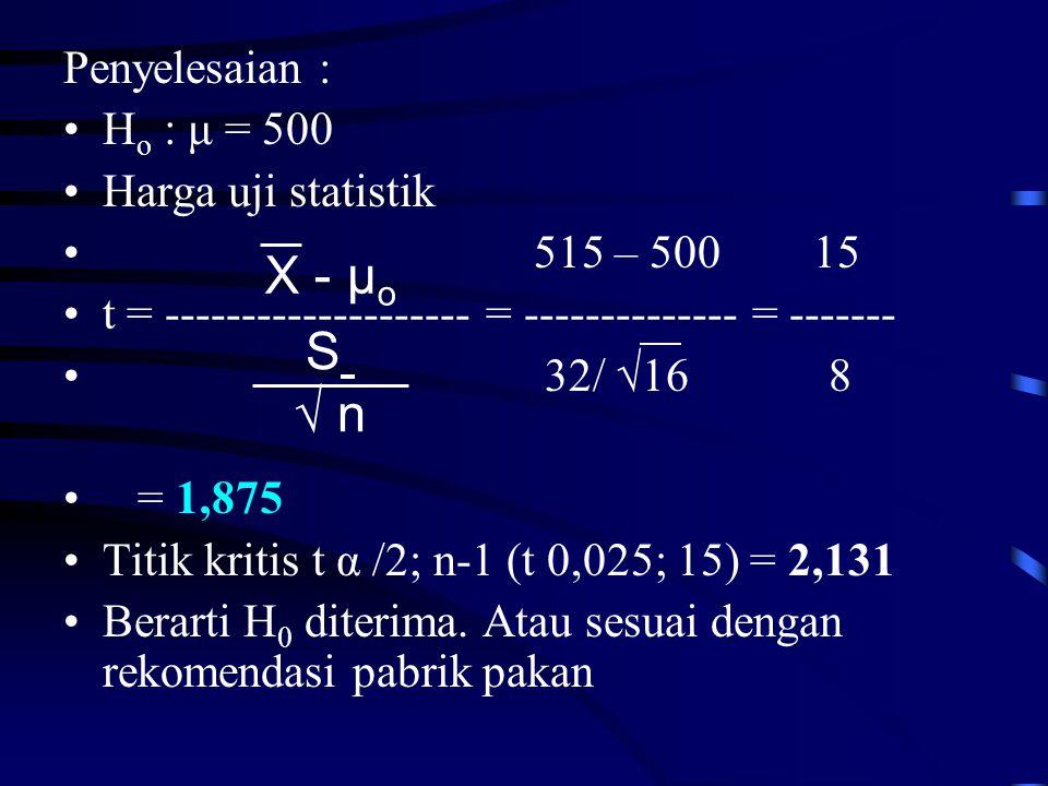 Penyelesaian : •H o : μ = 500 •Harga uji statistik • 515 – 500 15 •t = -------------------- = -------------- = ------- • 32/ √16 8 • = 1,875 •Titik kritis t α /2; n-1 (t 0,025; 15) = 2,131 •Berarti H 0 diterima.