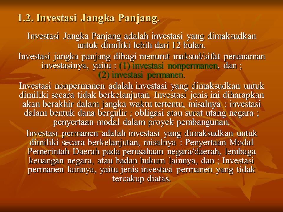 1.2. Investasi Jangka Panjang. Investasi Jangka Panjang adalah investasi yang dimaksudkan untuk dimiliki lebih dari 12 bulan. Investasi jangka panjang