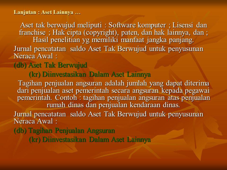 Lanjutan : Aset Lainnya … Aset tak berwujud meliputi : Software komputer ; Lisensi dan franchise ; Hak cipta (copyright), paten, dan hak lainnya, dan