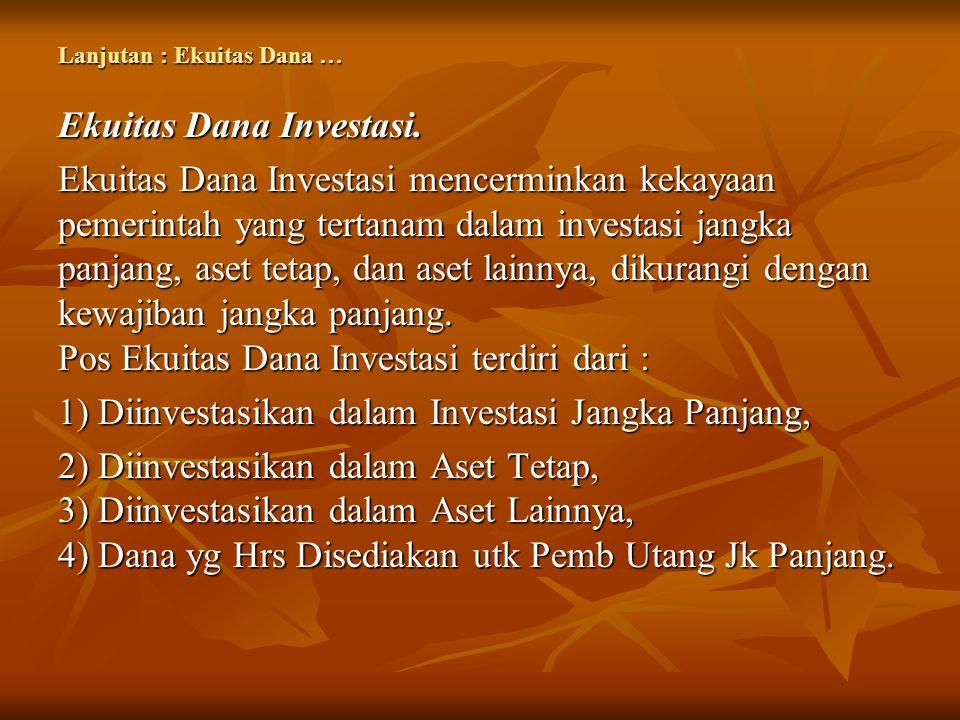 Lanjutan : Ekuitas Dana … Ekuitas Dana Investasi. Ekuitas Dana Investasi mencerminkan kekayaan pemerintah yang tertanam dalam investasi jangka panjang
