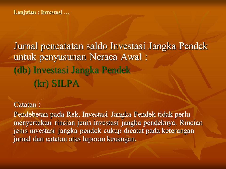 Lanjutan : Investasi … Jurnal pencatatan saldo Investasi Jangka Pendek untuk penyusunan Neraca Awal : (db) Investasi Jangka Pendek (kr) SILPA (kr) SIL