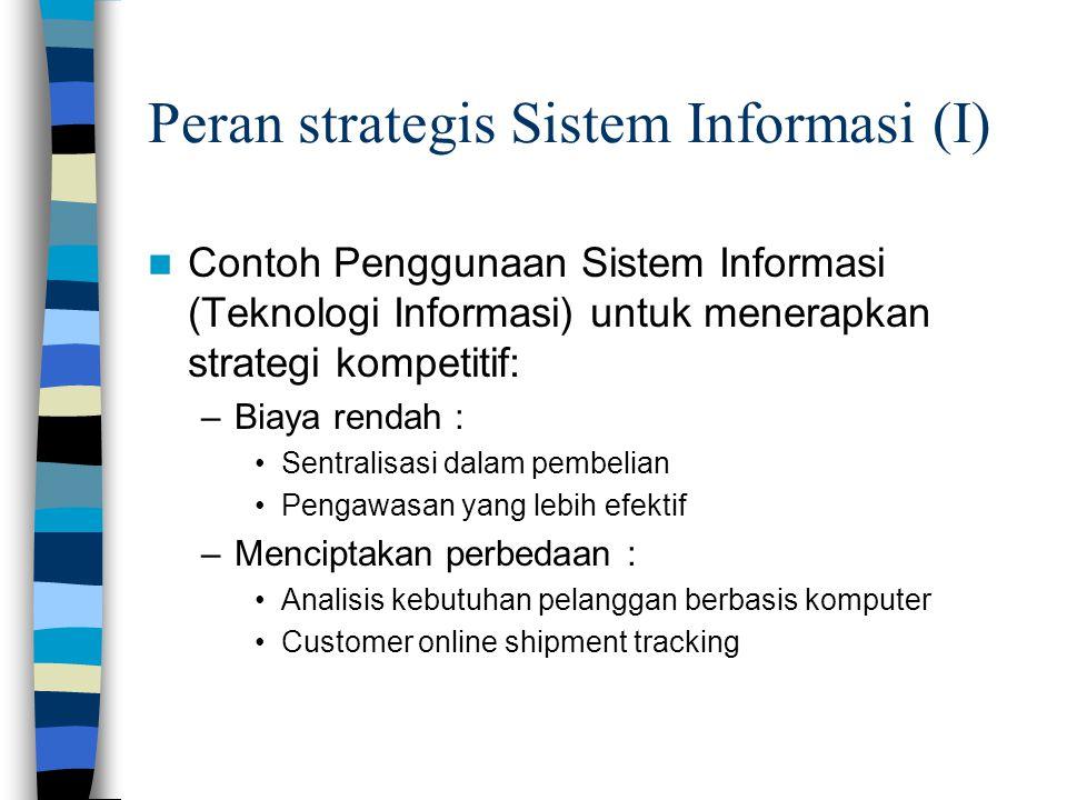 Peran strategis Sistem Informasi (I)  Contoh Penggunaan Sistem Informasi (Teknologi Informasi) untuk menerapkan strategi kompetitif: –Biaya rendah :
