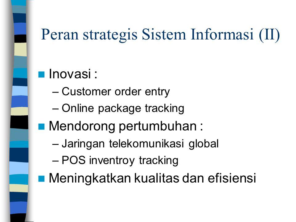 Peran strategis Sistem Informasi (II)  Inovasi : –Customer order entry –Online package tracking  Mendorong pertumbuhan : –Jaringan telekomunikasi gl