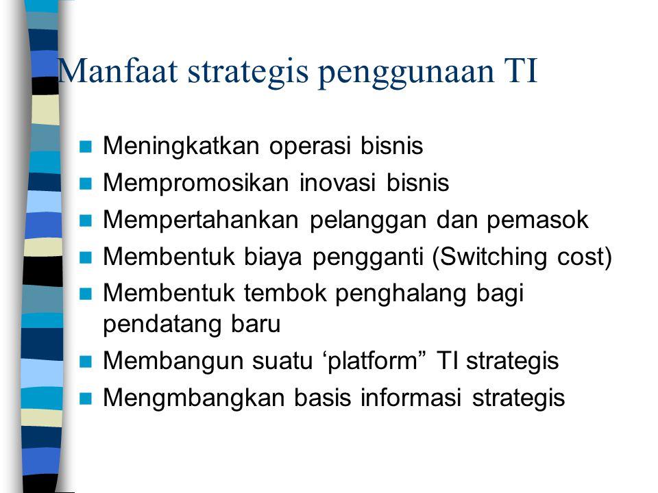 Manfaat strategis penggunaan TI  Meningkatkan operasi bisnis  Mempromosikan inovasi bisnis  Mempertahankan pelanggan dan pemasok  Membentuk biaya