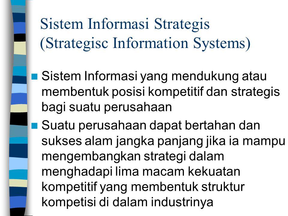 Sistem Informasi Strategis (Strategisc Information Systems)  Sistem Informasi yang mendukung atau membentuk posisi kompetitif dan strategis bagi suat
