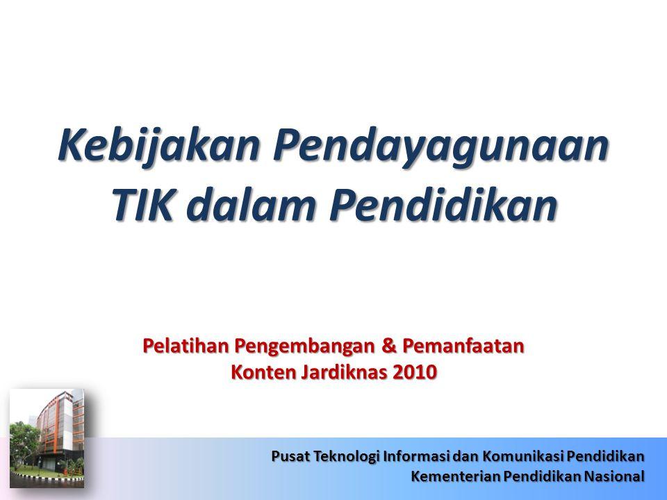 6/22/201422 Pusat Teknologi Informasi dan Komunikasi Pendidikan Kementerian Pendidikan Nasional 6/22/201422 Pusat Teknologi Informasi dan Komunikasi Pendidikan Kementerian Pendidikan Nasional RENSTRA JARDIKNAS 2010-2014 Kebijakan Pendayagunaan TIK dalam Pendidikan