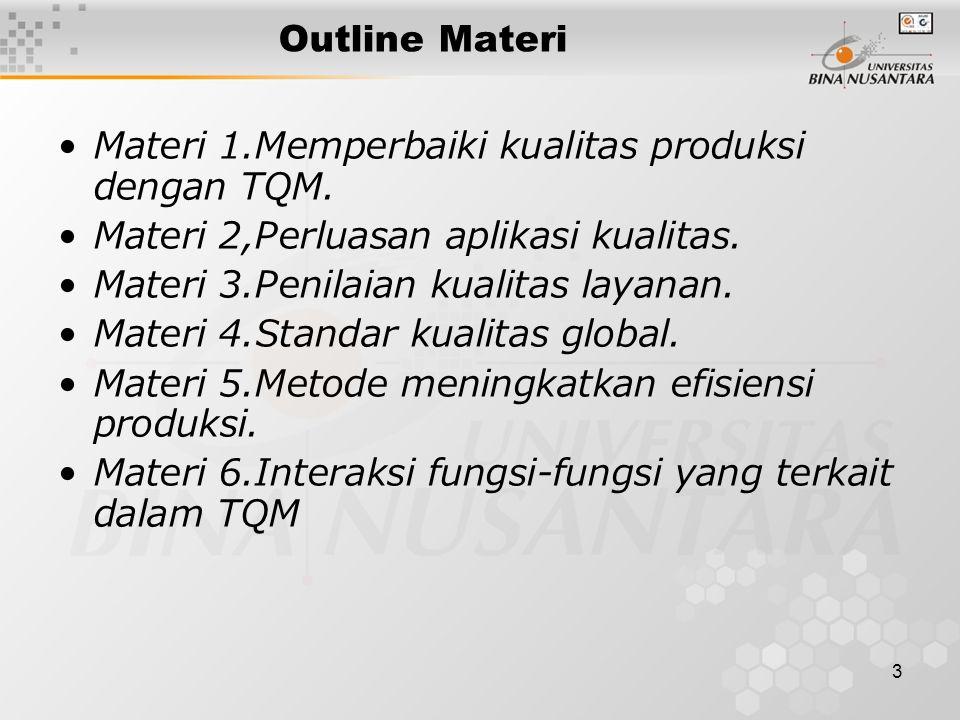 3 Outline Materi •Materi 1.Memperbaiki kualitas produksi dengan TQM. •Materi 2,Perluasan aplikasi kualitas. •Materi 3.Penilaian kualitas layanan. •Mat