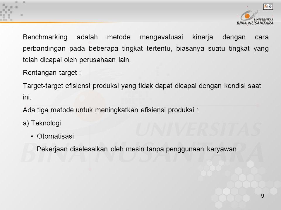 9. Benchmarking adalah metode mengevaluasi kinerja dengan cara perbandingan pada beberapa tingkat tertentu, biasanya suatu tingkat yang telah dicapai
