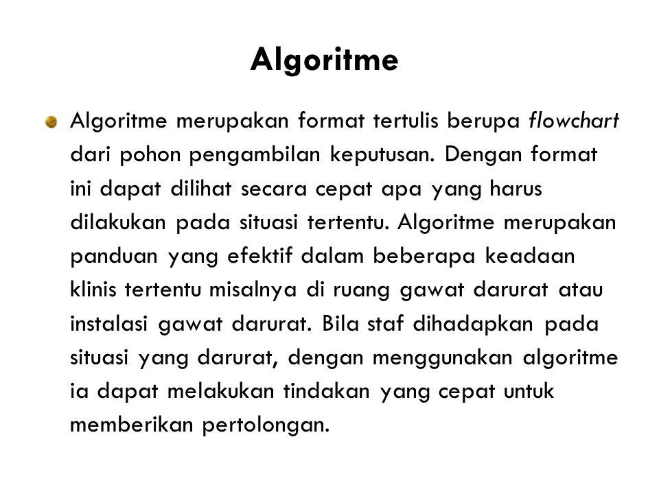 Algoritme Algoritme merupakan format tertulis berupa flowchart dari pohon pengambilan keputusan.