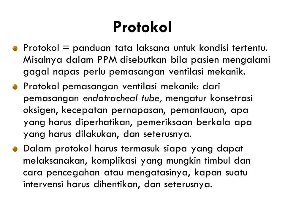 Protokol Protokol = panduan tata laksana untuk kondisi tertentu.