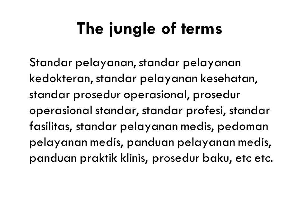 The jungle of terms Standar pelayanan, standar pelayanan kedokteran, standar pelayanan kesehatan, standar prosedur operasional, prosedur operasional standar, standar profesi, standar fasilitas, standar pelayanan medis, pedoman pelayanan medis, panduan pelayanan medis, panduan praktik klinis, prosedur baku, etc etc.