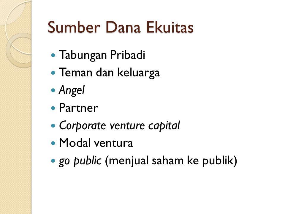 Sumber Dana Ekuitas  Tabungan Pribadi  Teman dan keluarga  Angel  Partner  Corporate venture capital  Modal ventura  go public (menjual saham ke publik)