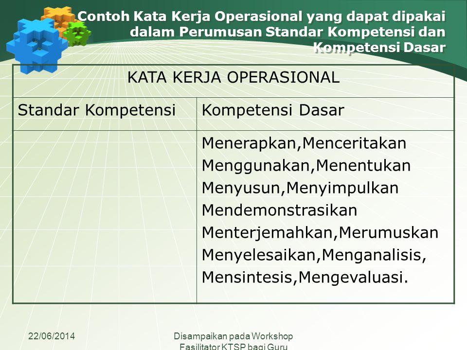 22/06/2014Disampaikan pada Workshop Fasilitator KTSP bagi Guru Madrasah Aliyah se-Jawa Tengah Contoh Kata Kerja Operasional yang dapat dipakai dalam P