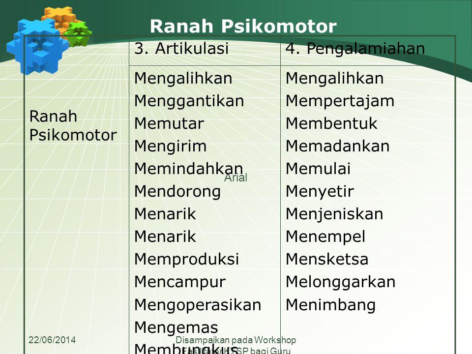 22/06/2014Disampaikan pada Workshop Fasilitator KTSP bagi Guru Madrasah Aliyah se-Jawa Tengah Ranah Psikomotor Arial Ranah Psikomotor 3. Artikulasi4.