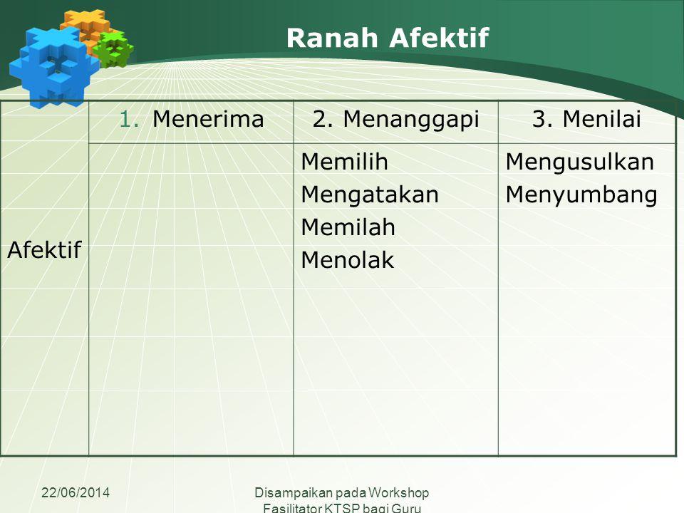 22/06/2014Disampaikan pada Workshop Fasilitator KTSP bagi Guru Madrasah Aliyah se-Jawa Tengah Ranah Afektif Afektif 1.Menerima2. Menanggapi3. Menilai