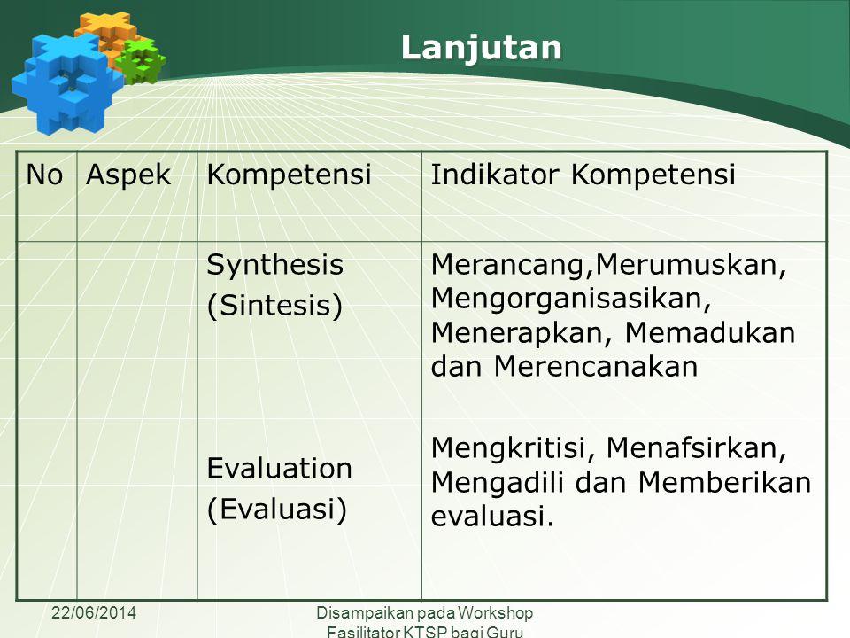 22/06/2014Disampaikan pada Workshop Fasilitator KTSP bagi Guru Madrasah Aliyah se-Jawa Tengah NoAspekKompetensiIndikator Kompetensi 02AfektifReceiving (Penerimaan) Responding (Menanggapi) Mempercayai, memilih, mengikuti, bertanya, dan mengalokasikan.