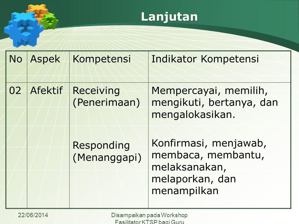 22/06/2014Disampaikan pada Workshop Fasilitator KTSP bagi Guru Madrasah Aliyah se-Jawa Tengah NoAspekKompetensiIndikator Kompetensi 02AfektifReceiving