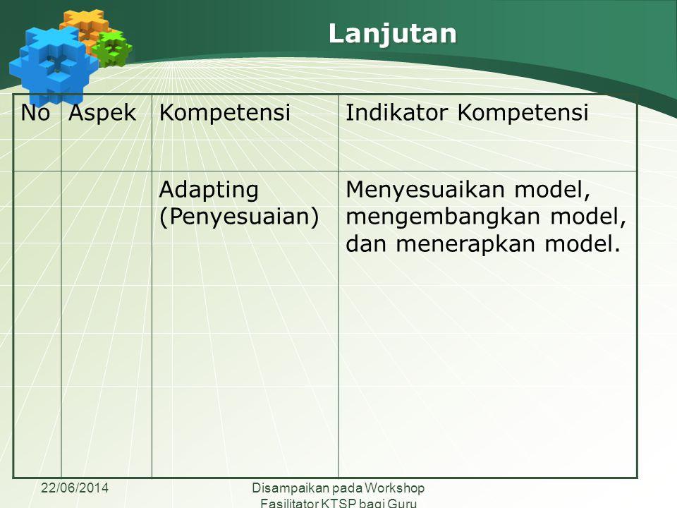 22/06/2014Disampaikan pada Workshop Fasilitator KTSP bagi Guru Madrasah Aliyah se-Jawa Tengah NoAspekKompetensiIndikator Kompetensi Adapting (Penyesua