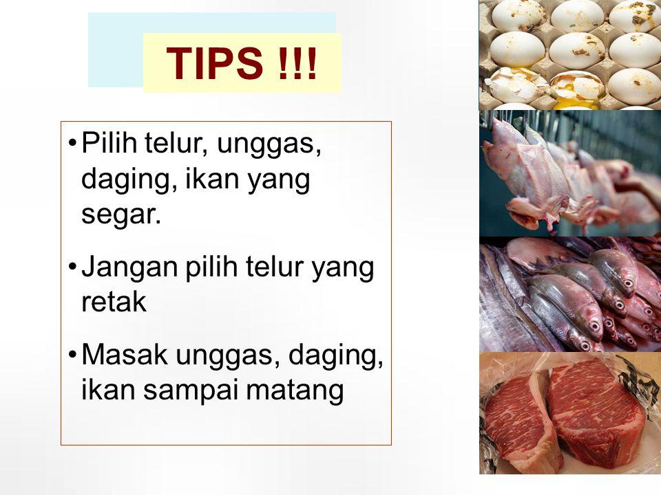 TIPS !!! •Pilih telur, unggas, daging, ikan yang segar. •Jangan pilih telur yang retak •Masak unggas, daging, ikan sampai matang 18