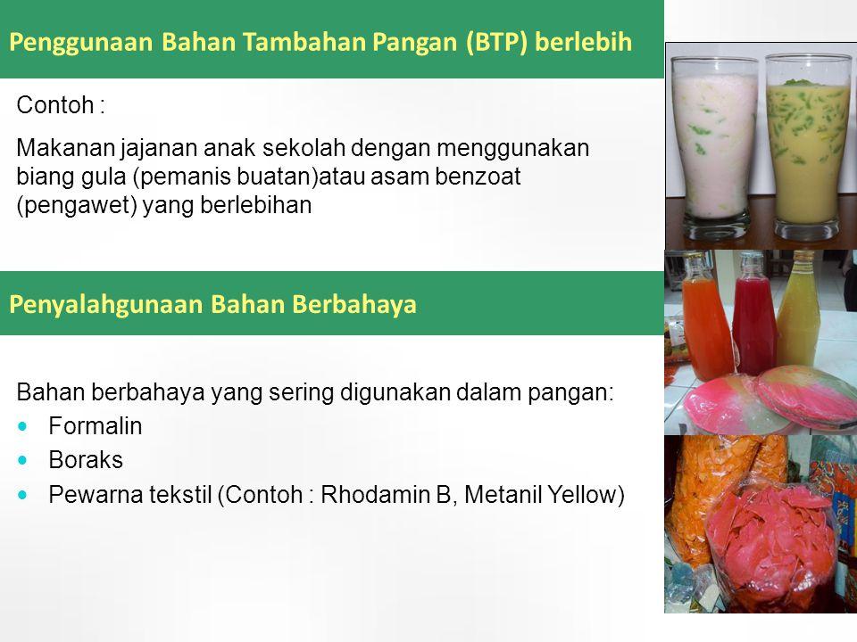 Penggunaan Bahan Tambahan Pangan (BTP) berlebih Penyalahgunaan Bahan Berbahaya Contoh : Makanan jajanan anak sekolah dengan menggunakan biang gula (pe