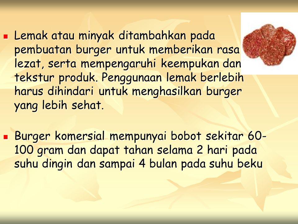  Lemak atau minyak ditambahkan pada pembuatan burger untuk memberikan rasa lezat, serta mempengaruhi keempukan dan tekstur produk. Penggunaan lemak b