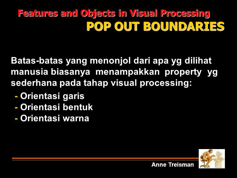 Features and Objects in Visual Processing Anne Treisman POP OUT BOUNDARIES - Orientasi garis - Orientasi bentuk - Orientasi warna Batas-batas yang men