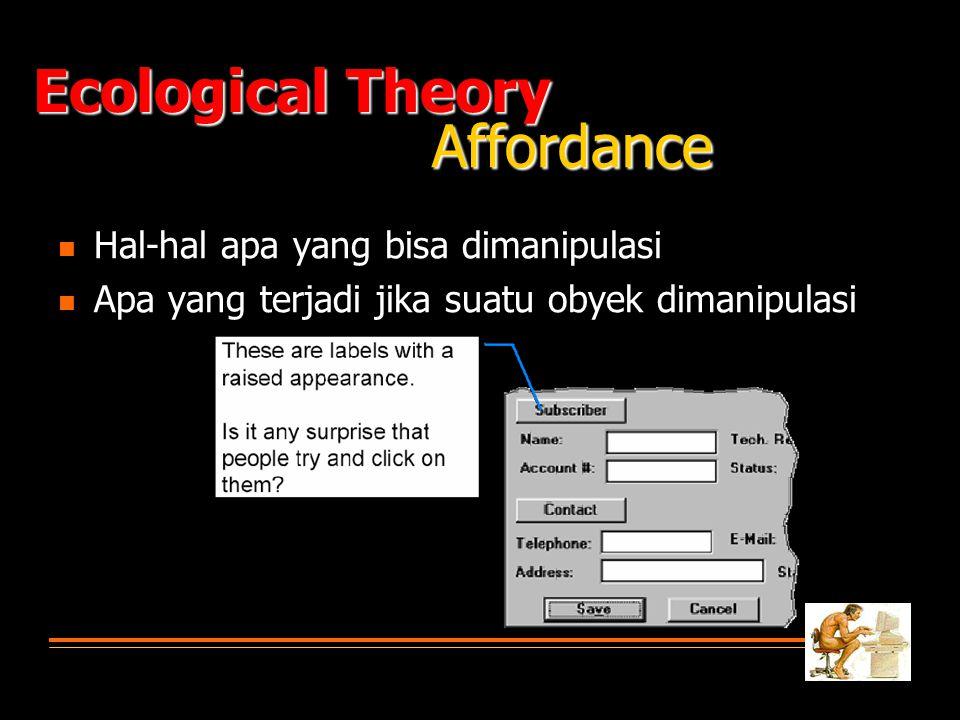   Hal-hal apa yang bisa dimanipulasi   Apa yang terjadi jika suatu obyek dimanipulasi Ecological Theory Affordance