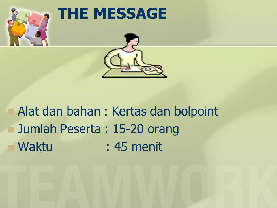 THE MESSAGE  Alat dan bahan : Kertas dan bolpoint  Jumlah Peserta : 15-20 orang  Waktu : 45 menit