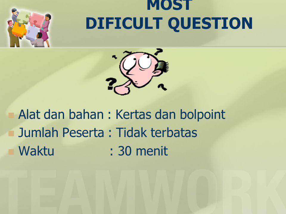 MOST DIFICULT QUESTION  Alat dan bahan : Kertas dan bolpoint  Jumlah Peserta : Tidak terbatas  Waktu : 30 menit