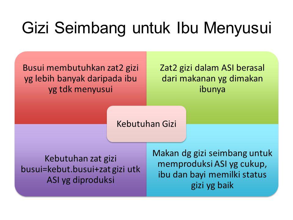 Gizi Seimbang untuk Ibu Menyusui Busui membutuhkan zat2 gizi yg lebih banyak daripada ibu yg tdk menyusui Zat2 gizi dalam ASI berasal dari makanan yg