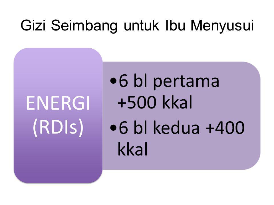 Gizi Seimbang untuk Ibu Menyusui •6 bl pertama +500 kkal •6 bl kedua +400 kkal ENERGI (RDIs)