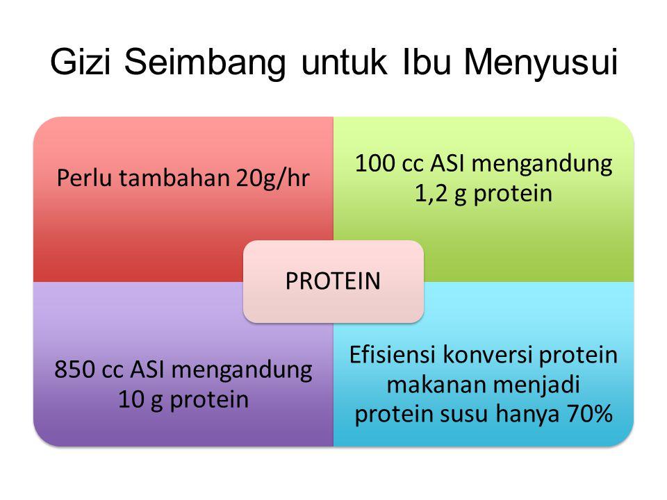 Gizi Seimbang untuk Ibu Menyusui Perlu tambahan 20g/hr 100 cc ASI mengandung 1,2 g protein 850 cc ASI mengandung 10 g protein Efisiensi konversi prote