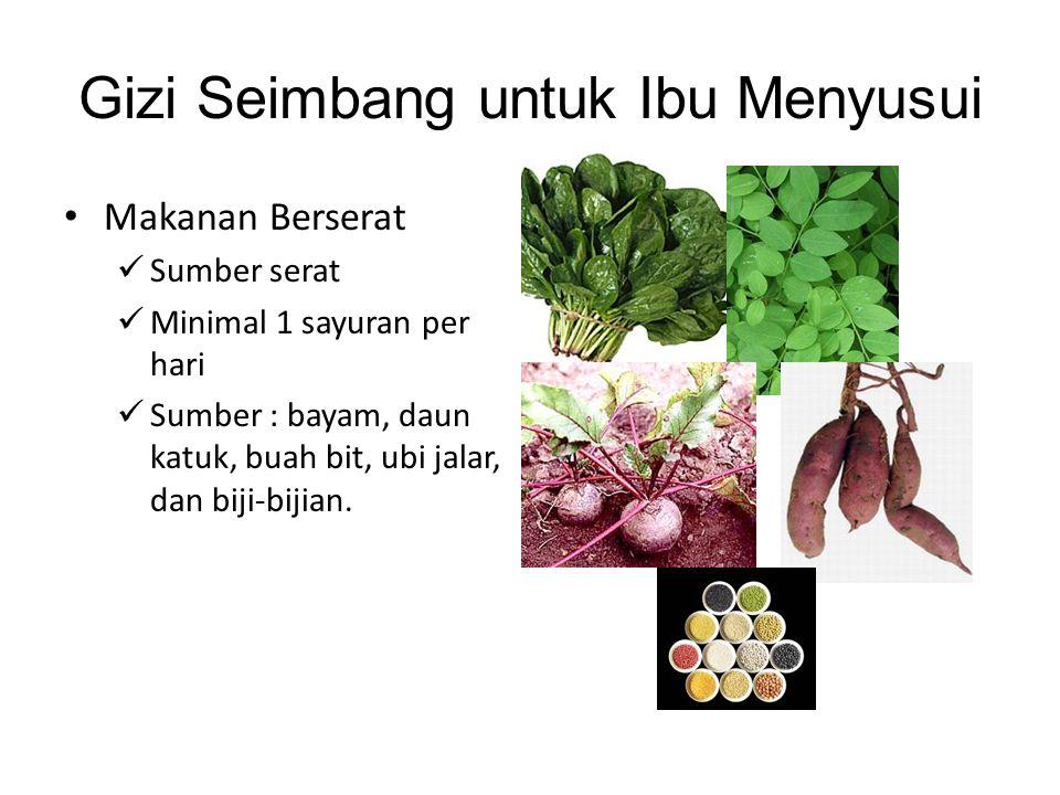 Gizi Seimbang untuk Ibu Menyusui • Makanan Berserat  Sumber serat  Minimal 1 sayuran per hari  Sumber : bayam, daun katuk, buah bit, ubi jalar, dan