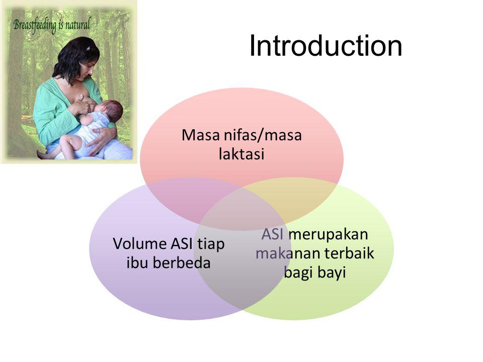 Introduction Masa nifas/masa laktasi ASI merupakan makanan terbaik bagi bayi Volume ASI tiap ibu berbeda