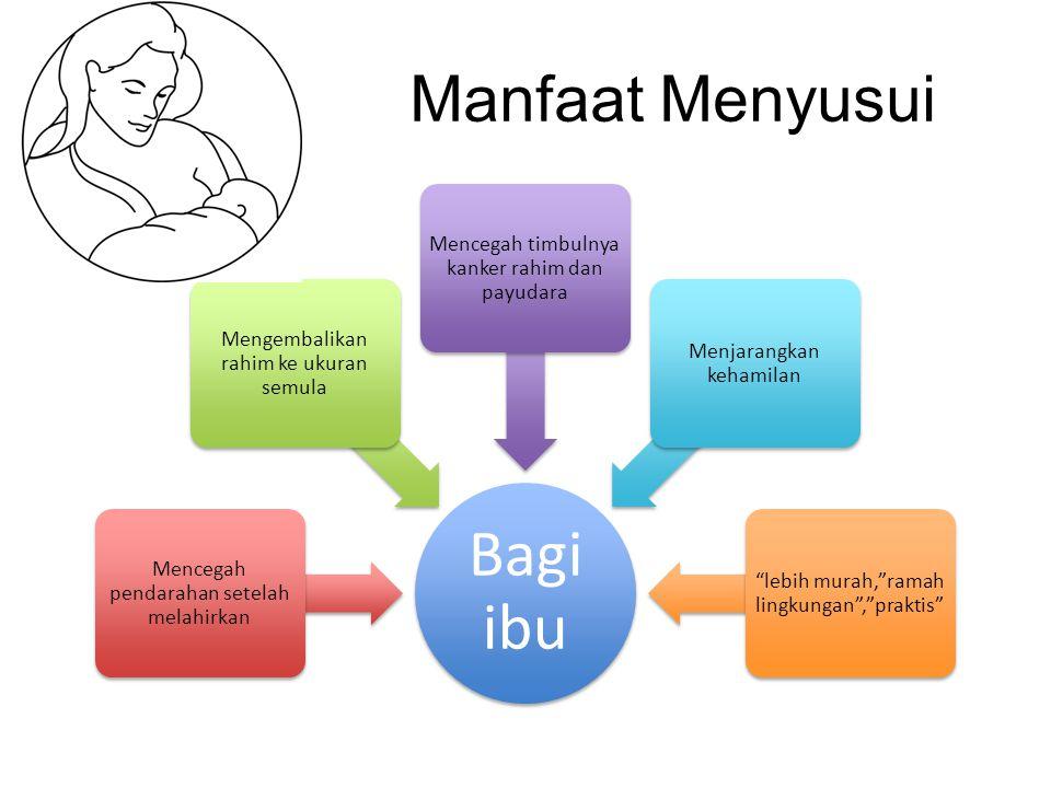Manfaat Menyusui Bagi ibu Mencegah pendarahan setelah melahirkan Mengembalikan rahim ke ukuran semula Mencegah timbulnya kanker rahim dan payudara Men