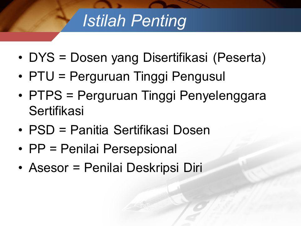 Istilah Penting •DYS = Dosen yang Disertifikasi (Peserta) •PTU = Perguruan Tinggi Pengusul •PTPS = Perguruan Tinggi Penyelenggara Sertifikasi •PSD = P