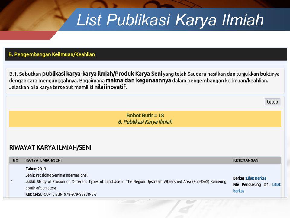 List Publikasi Karya Ilmiah