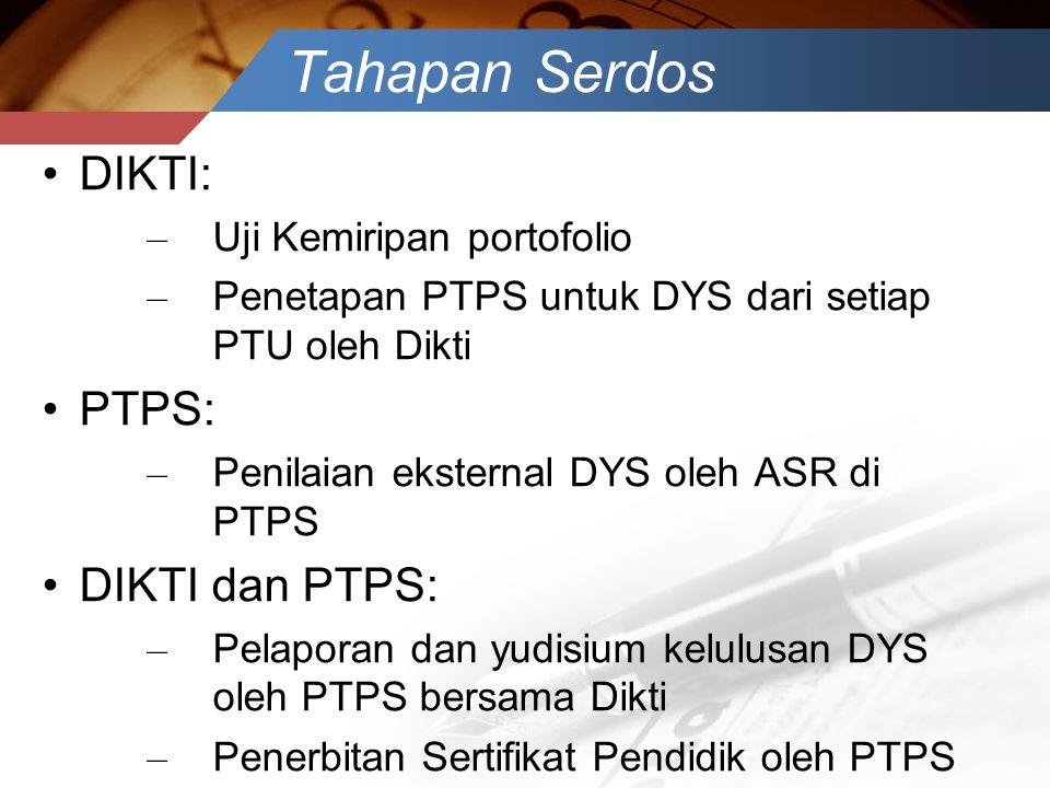 Tahapan Serdos •DIKTI: – Uji Kemiripan portofolio – Penetapan PTPS untuk DYS dari setiap PTU oleh Dikti •PTPS: – Penilaian eksternal DYS oleh ASR di P