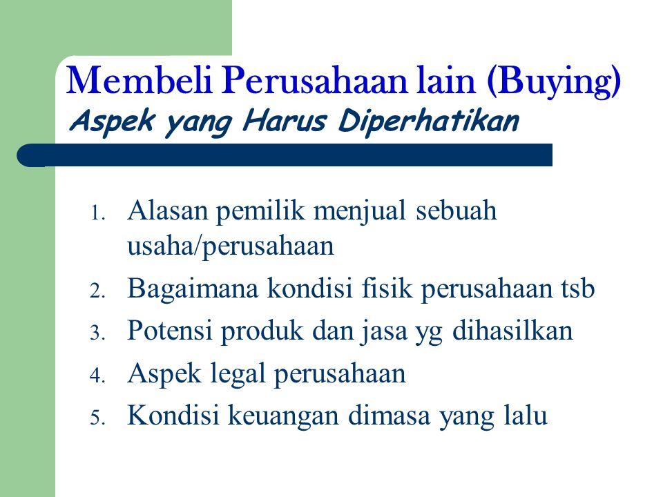 Membeli Perusahaan lain (Buying) 1.Alasan pemilik menjual sebuah usaha/perusahaan 2.