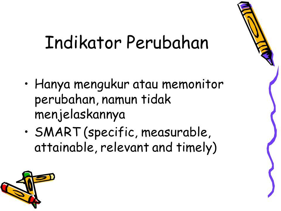Indikator Perubahan •Hanya mengukur atau memonitor perubahan, namun tidak menjelaskannya •SMART (specific, measurable, attainable, relevant and timely