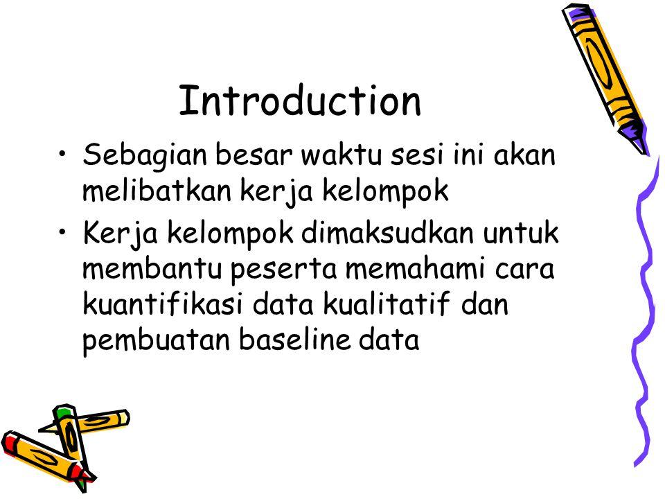 Introduction •Sebagian besar waktu sesi ini akan melibatkan kerja kelompok •Kerja kelompok dimaksudkan untuk membantu peserta memahami cara kuantifika