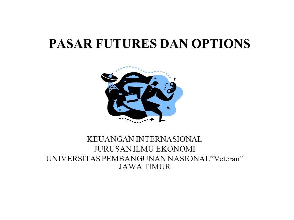 Futures dan Option •Pasar Futures dan Option digunakan untuk mengantisipasi risiko valas yang diakibatkan oleh transaksi bisnis dan juga untuk tujuan spekulatif.