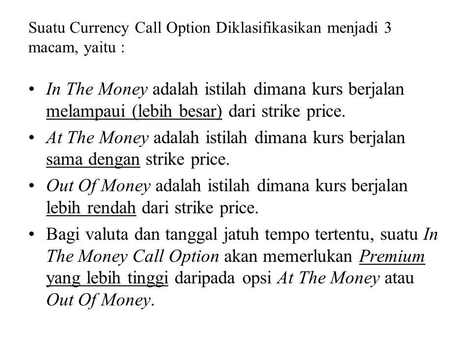 Suatu Currency Call Option Diklasifikasikan menjadi 3 macam, yaitu : •In The Money adalah istilah dimana kurs berjalan melampaui (lebih besar) dari strike price.