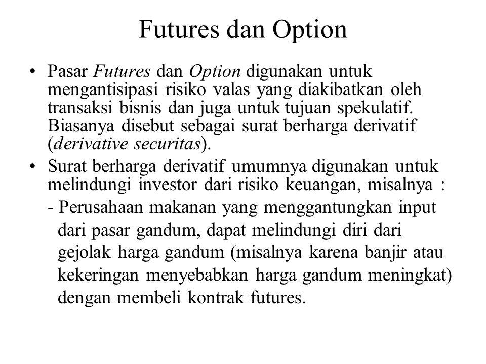 Futures dan Option •Pasar Futures dan Option digunakan untuk mengantisipasi risiko valas yang diakibatkan oleh transaksi bisnis dan juga untuk tujuan