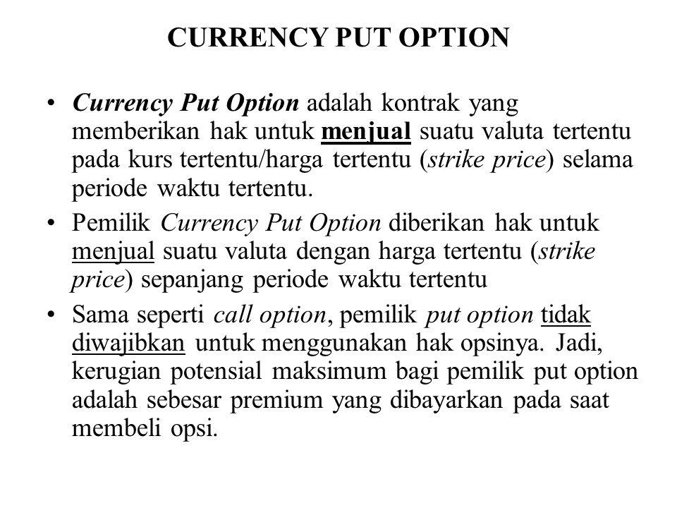 CURRENCY PUT OPTION •Currency Put Option adalah kontrak yang memberikan hak untuk menjual suatu valuta tertentu pada kurs tertentu/harga tertentu (str