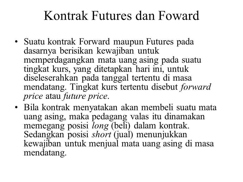 Kontrak Futures dan Foward •Suatu kontrak Forward maupun Futures pada dasarnya berisikan kewajiban untuk memperdagangkan mata uang asing pada suatu ti