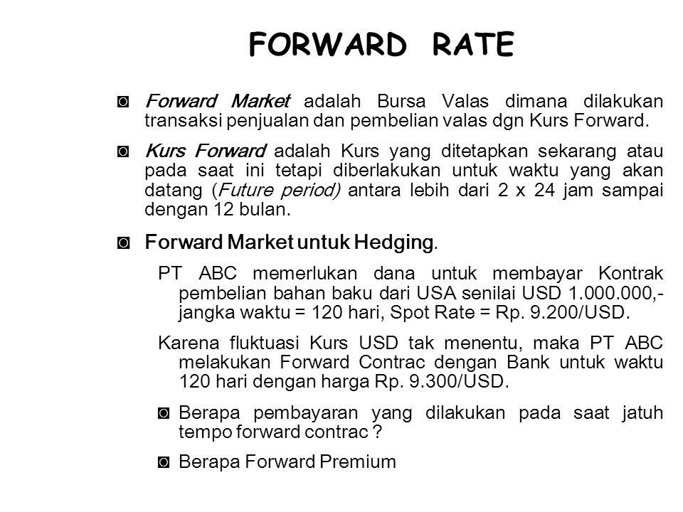 ◙Forward Market adalah Bursa Valas dimana dilakukan transaksi penjualan dan pembelian valas dgn Kurs Forward. ◙Kurs Forward adalah Kurs yang ditetapka