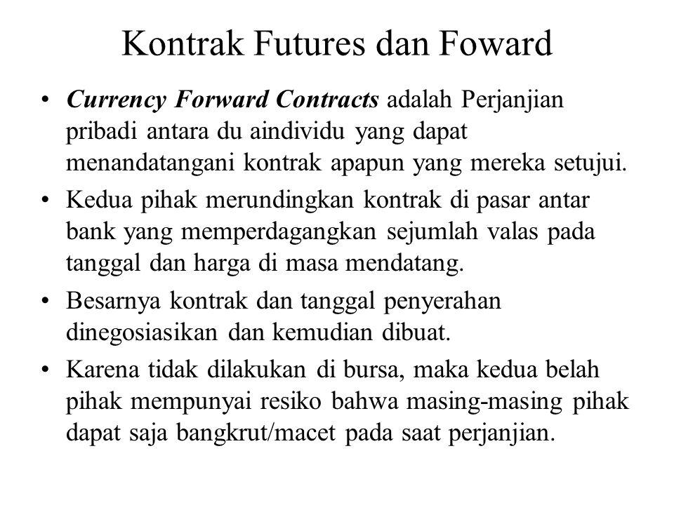 Kontrak Futures dan Foward •Currency Forward Contracts adalah Perjanjian pribadi antara du aindividu yang dapat menandatangani kontrak apapun yang mereka setujui.