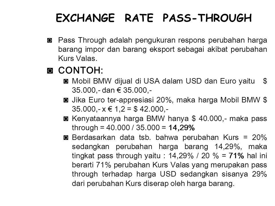 ◙Pass Through adalah pengukuran respons perubahan harga barang impor dan barang eksport sebagai akibat perubahan Kurs Valas. ◙CONTOH: ◙Mobil BMW dijua